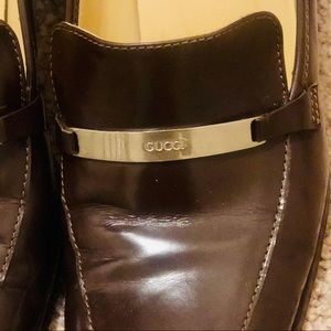 Authentic Brown Gucci Loafers with Silver Emblem